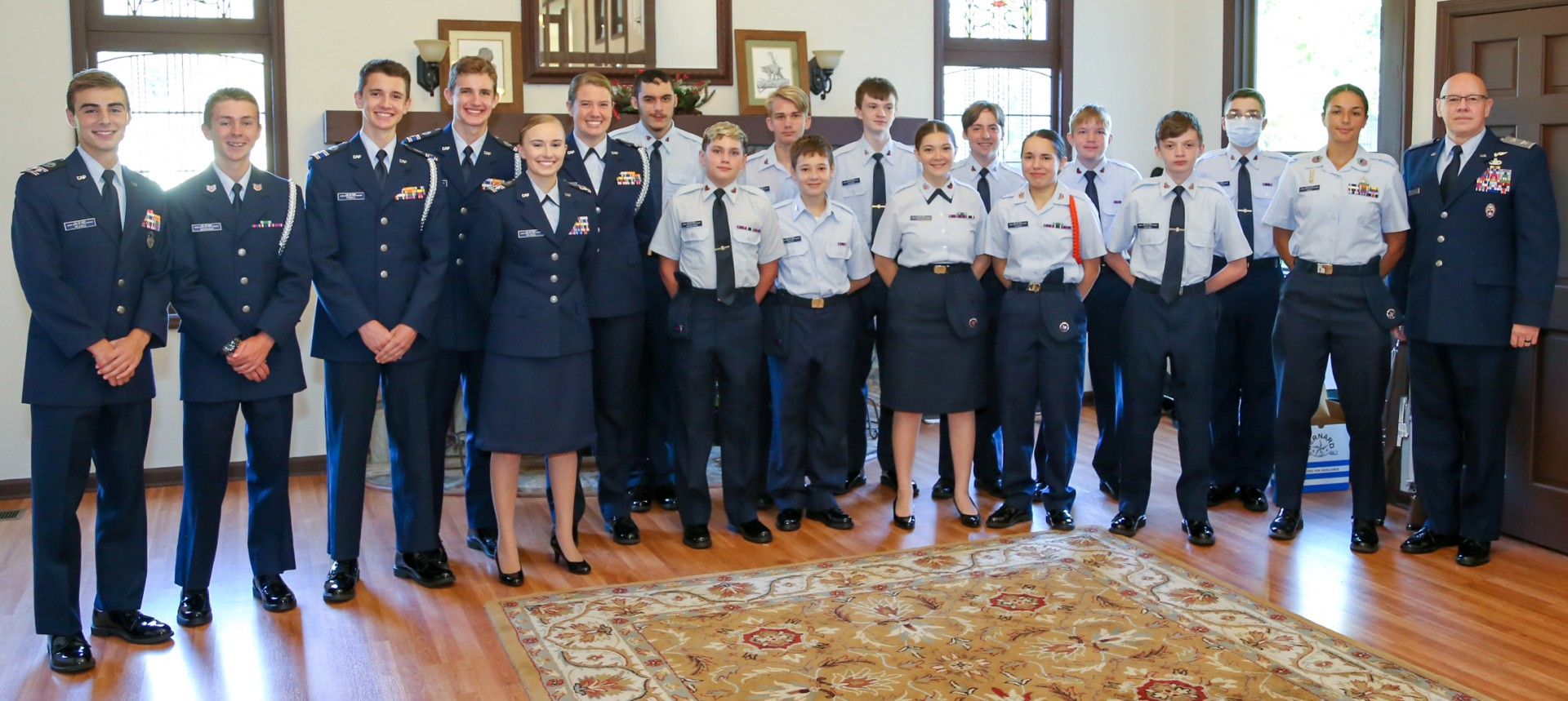 Cadets stand for a photo together after the Spaatz presentation ceremony