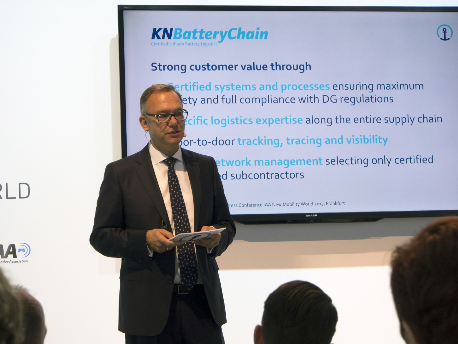Dr. Detlef Trefzger, CEO Kuehne + Nagel International AG, speaking at the New Mobility World 2017 (IAA) in Frankfurt, Germany