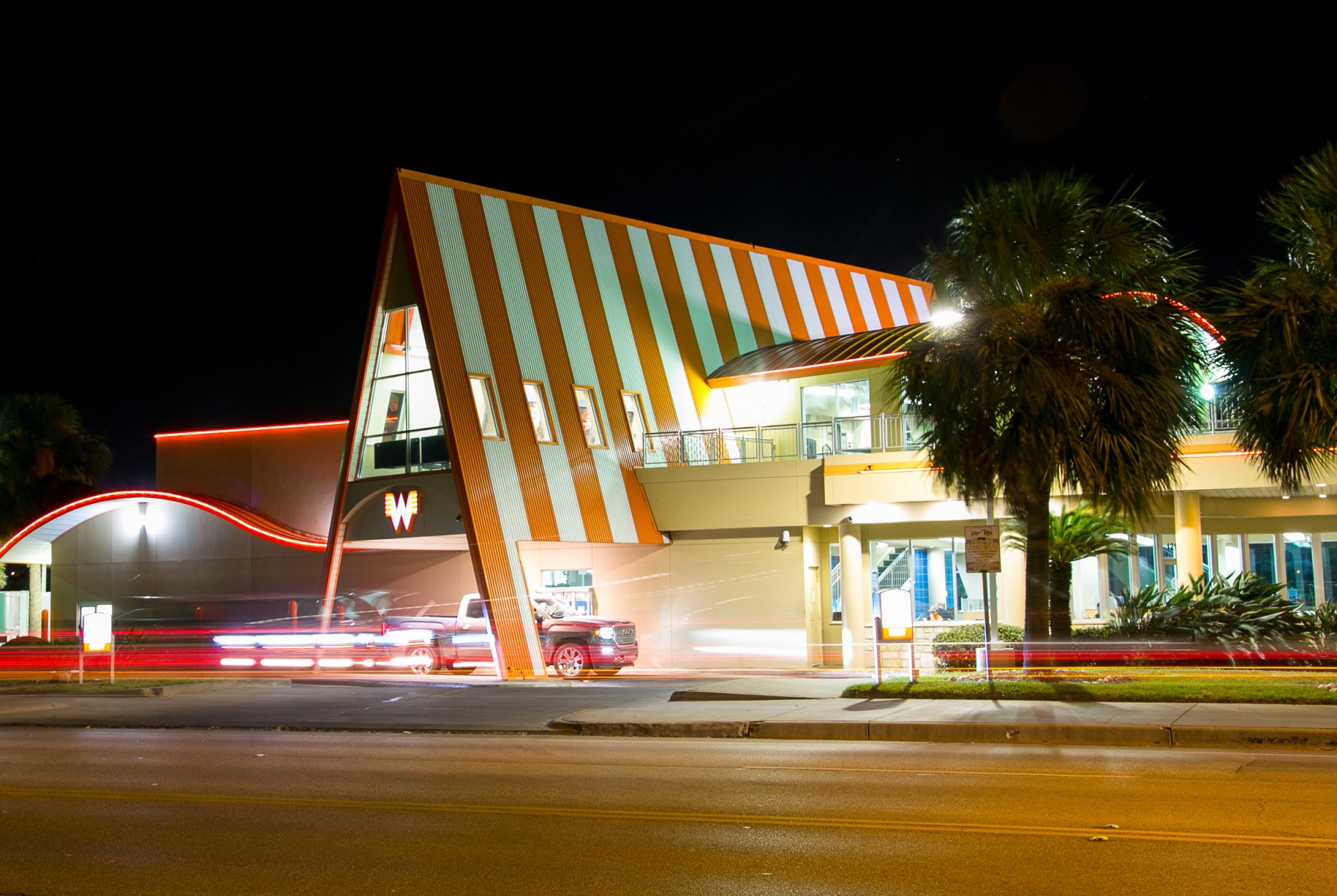 Whataburger by the Bay at night