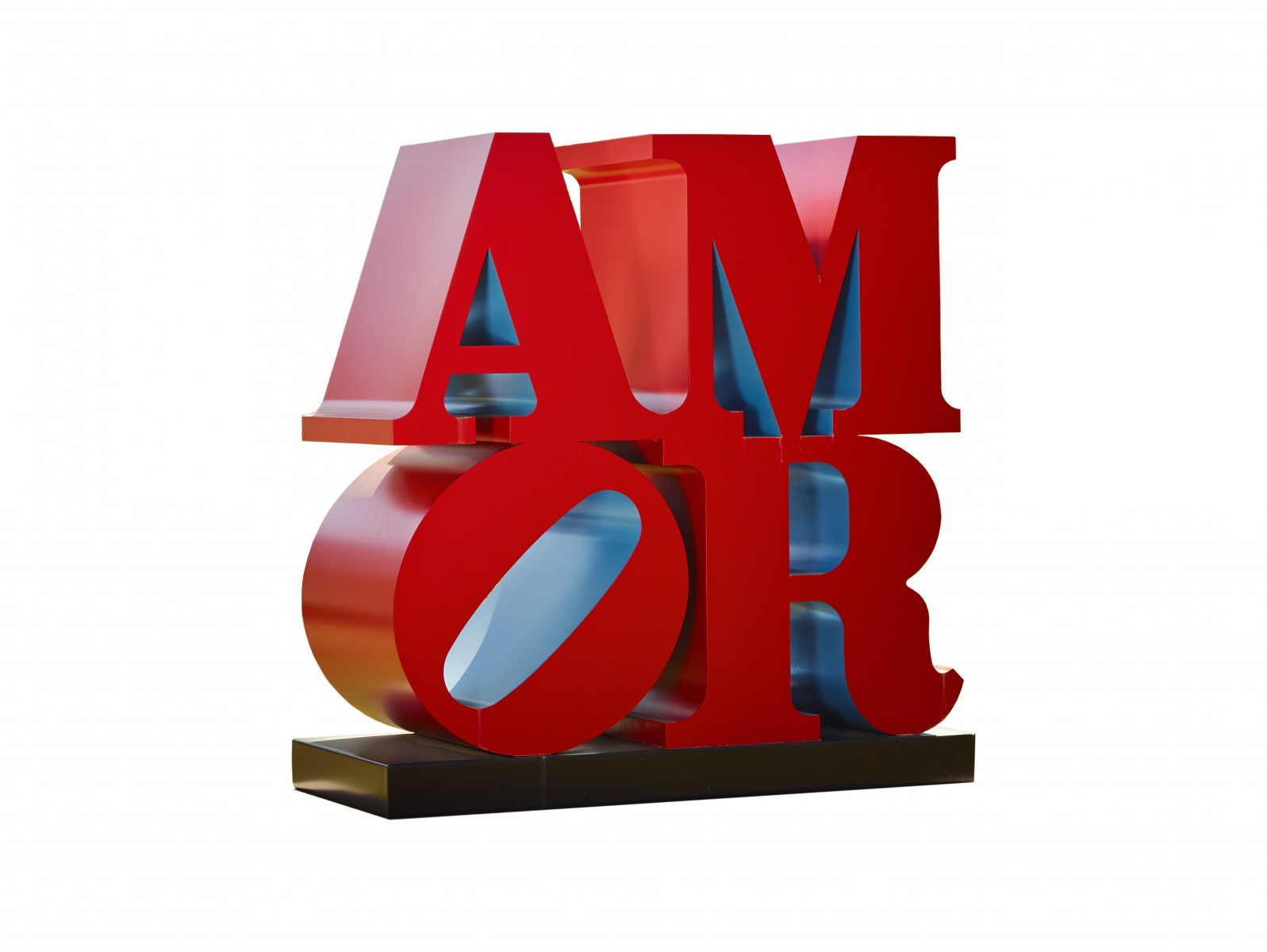 AMOR, Robert Indiana, 1998, Painted Aluminum, 6 feet × 6 feet × 36 inches, Base: 6 feet × 6 feet 2 inches × 38 inches, Collection of Morgan Art Foundation, Courtesy Simon and Marc Salama-Caro, Red Blue, Edition 2/5, ©Morgan Art Foundation/Artists Rights Society (ARS) New York