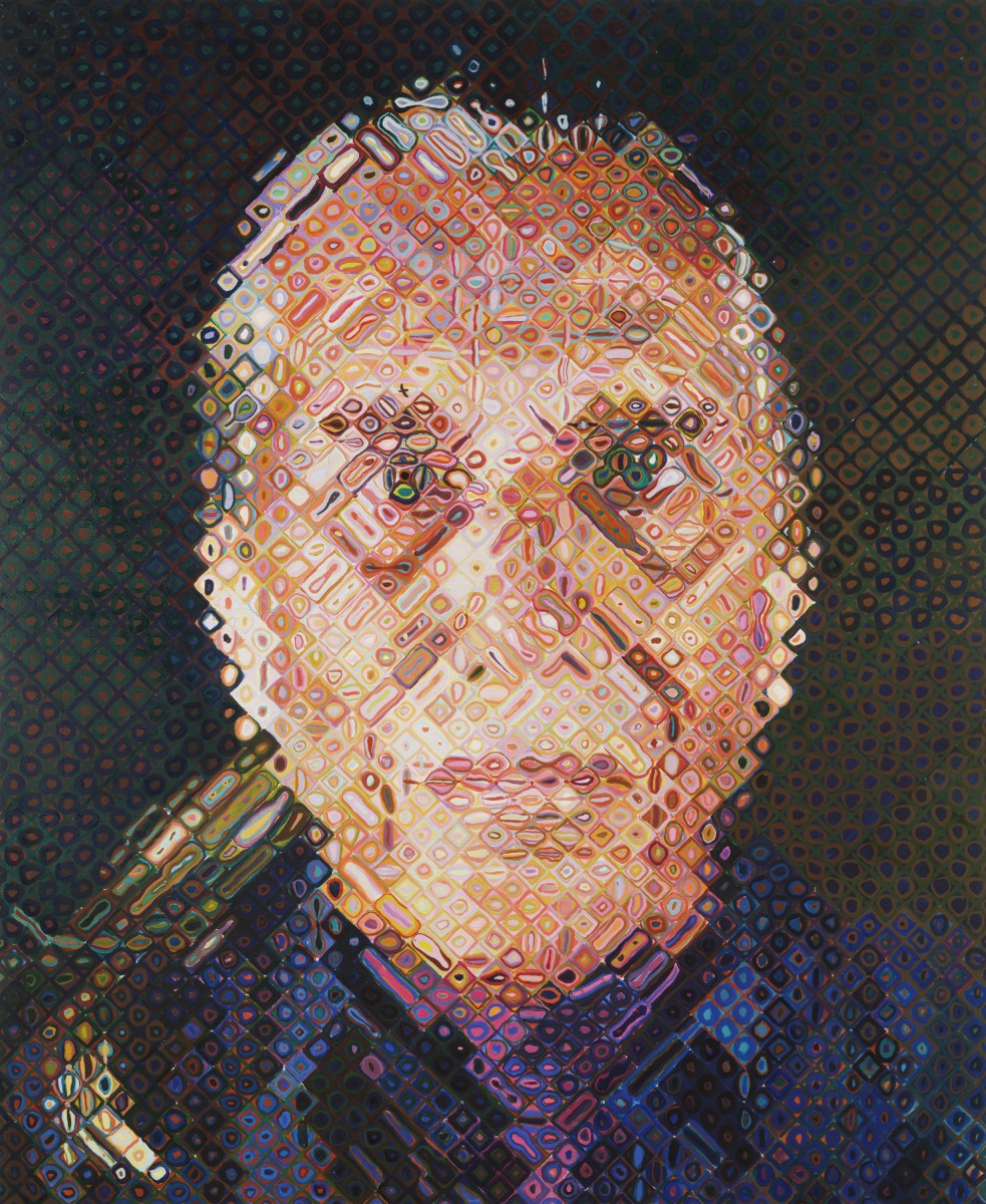 """Paul,"" 1994, by Chuck Close. Oil on canvas, 8 feet 6 inches × 7 feet. © Chuck Close. Courtesy Pace Wildenstein, New York. Purchased with funds (by exchange) from the gift of Mr. and Mrs. Cummins Catherwood, with the Edith H. Bell Fund, and with funds contributed by the Committee on Twentieth-Century Art, 1994. Image courtesy of Philadelphia Museum of Art, 2019."