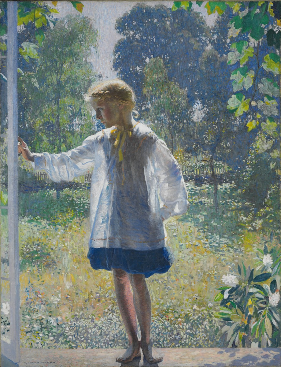 """Tanis,"" 1915, by Daniel Garber. Oil on canvas, 60 × 46 1/4 inches; framed: 71 1/2 × 57 5/16 × 3 5/8 inches. © Estate of Daniel Garber. Purchased with funds contributed by Marguerite and Gerry Lenfest, 2011. Image courtesy of Philadelphia Museum of Art, 2019."