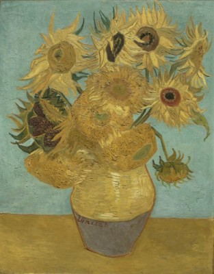 Sunflowers, 1888 or 1889. Vincent Willem van Gogh, Dutch, 1853-1890. Oil on canvas, 36 3/8 x 28 inches. Philadelphia Museum of Art.