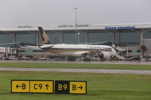 Singapore Airlines' A350 at BNE 17 Oct