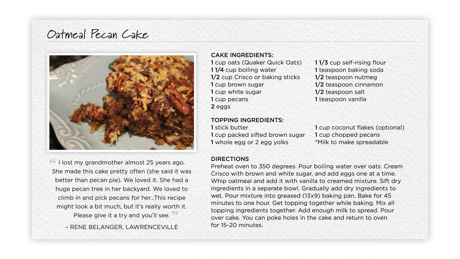 Oatmeal Pecan Cake (recipe card)