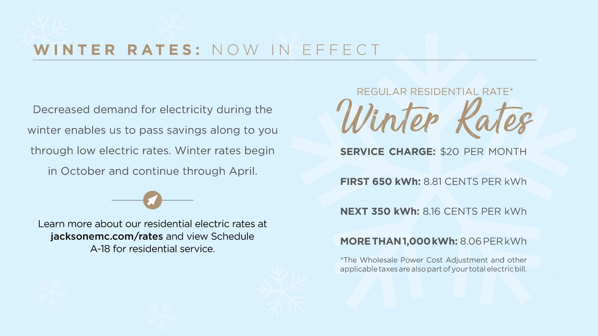 Winter Rates Notice
