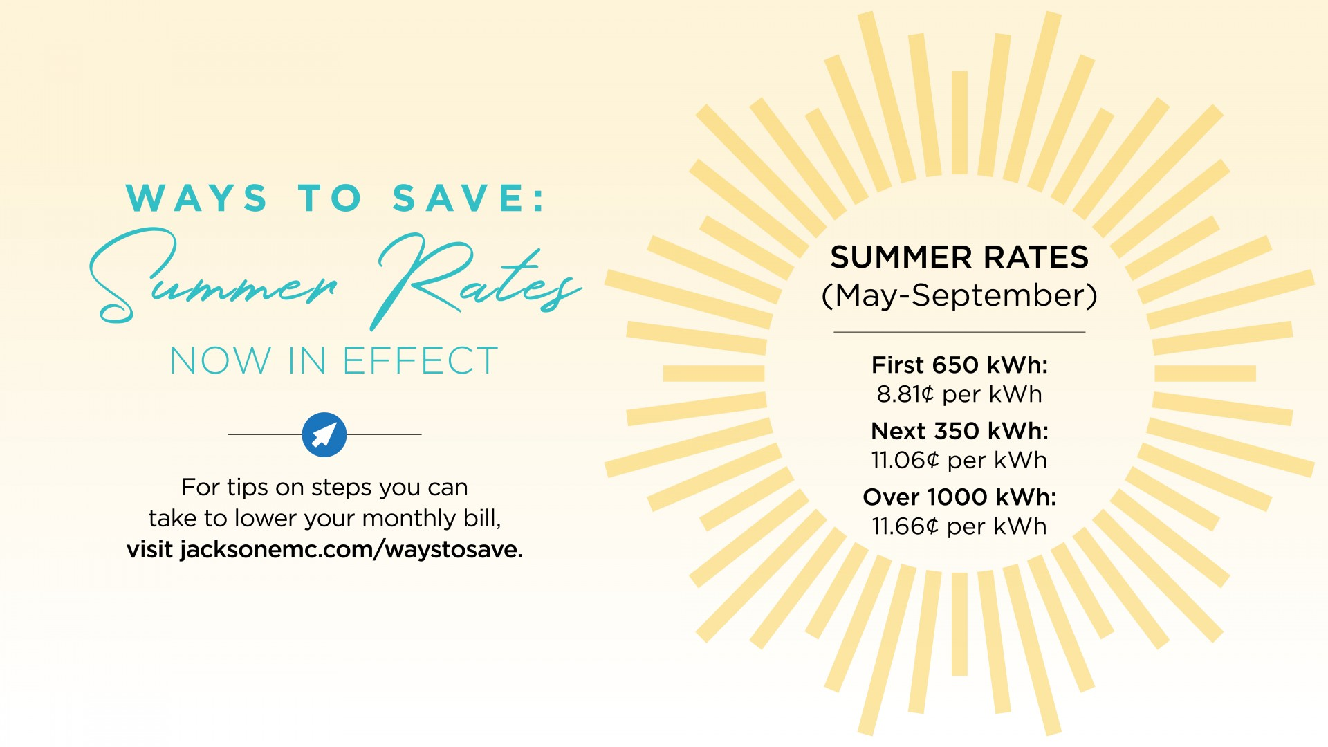 Summer Rates for 2018 in Effect