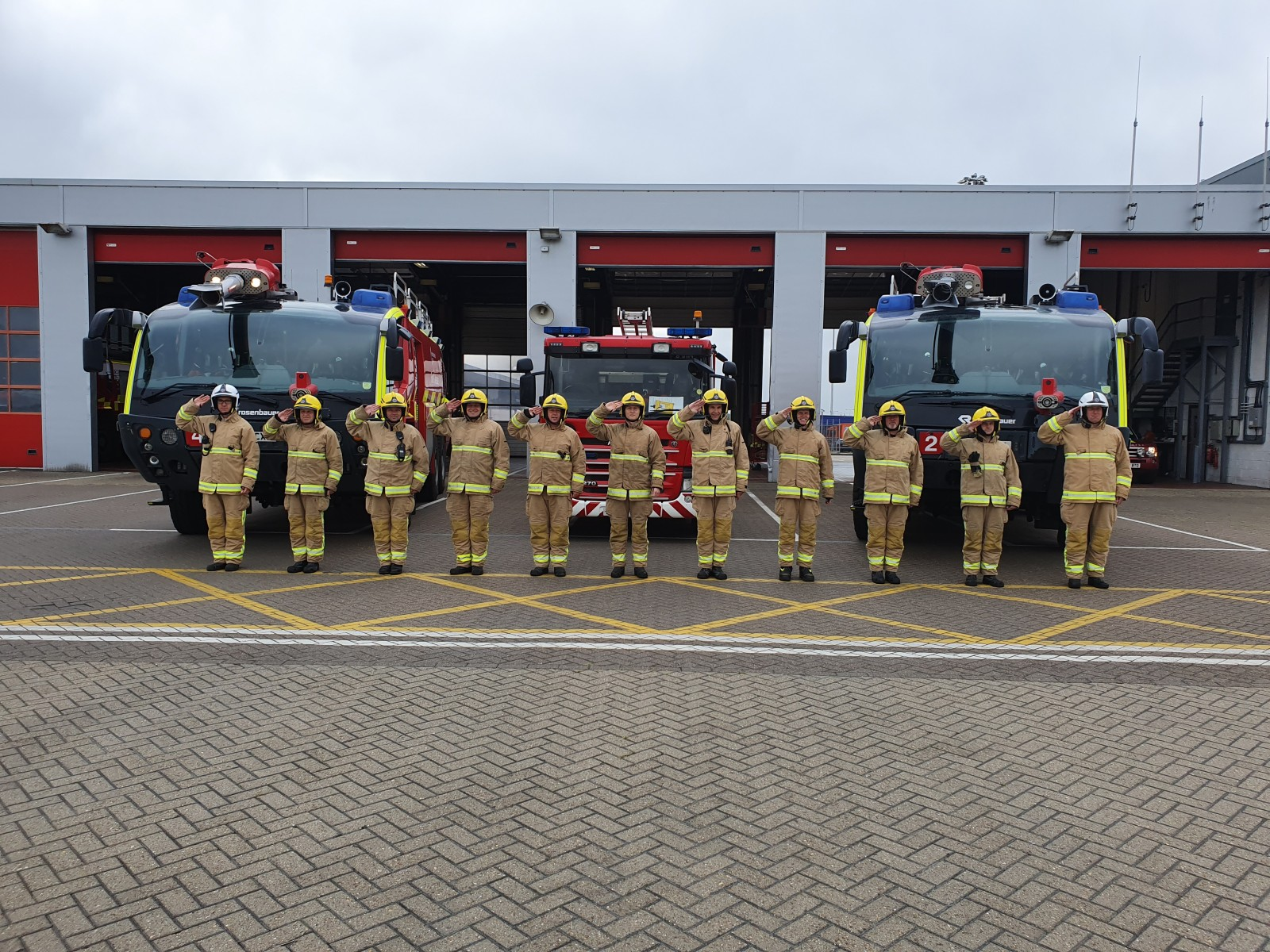 Firefighter salute for Armed Forces Day
