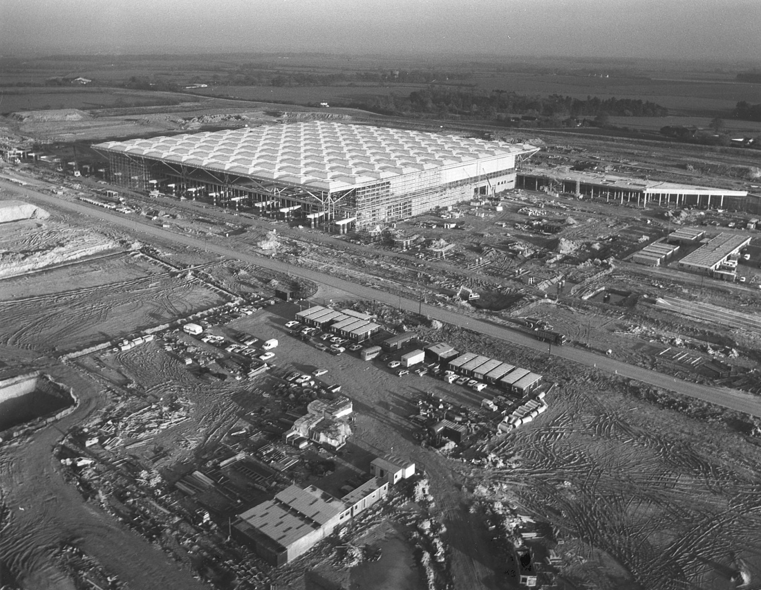 Stansted's new terminal buliding taking shape 1989.