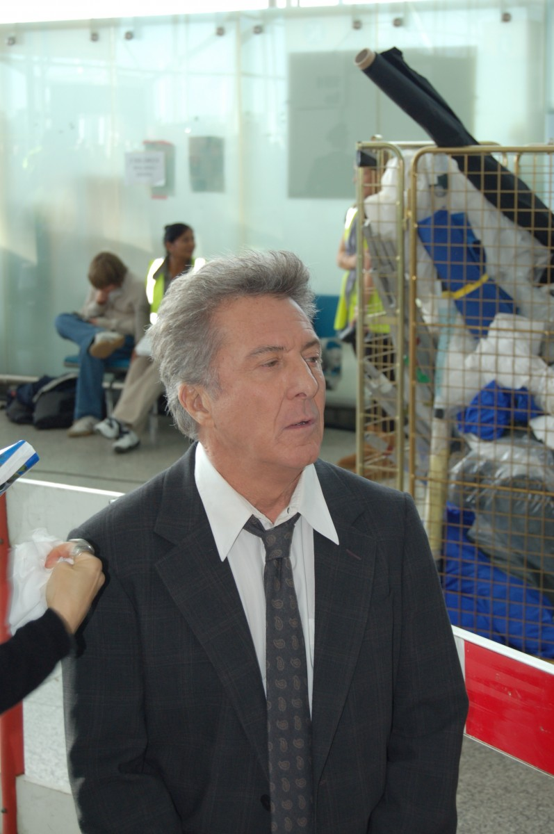 The airport has been the backdrop to many blockbuster films and TV shows. Dustin Hoffman filming Last Chance Harvey in 2008