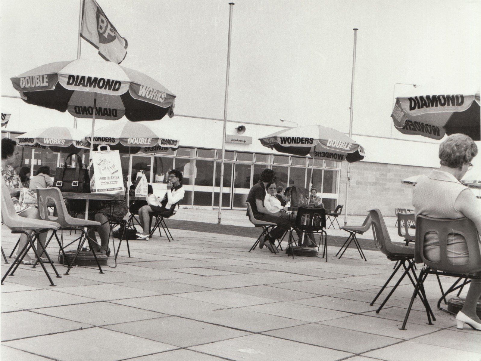 The departure lounge included an outside seating area.