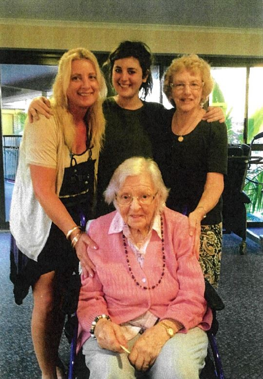 Three generations: Tracey Waters, Brittney Waters, Jan Denzel and Wilhelmina at 101.