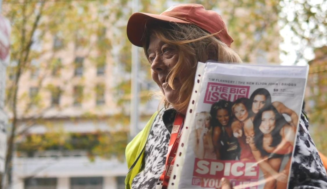 Donna selling The Big Issue