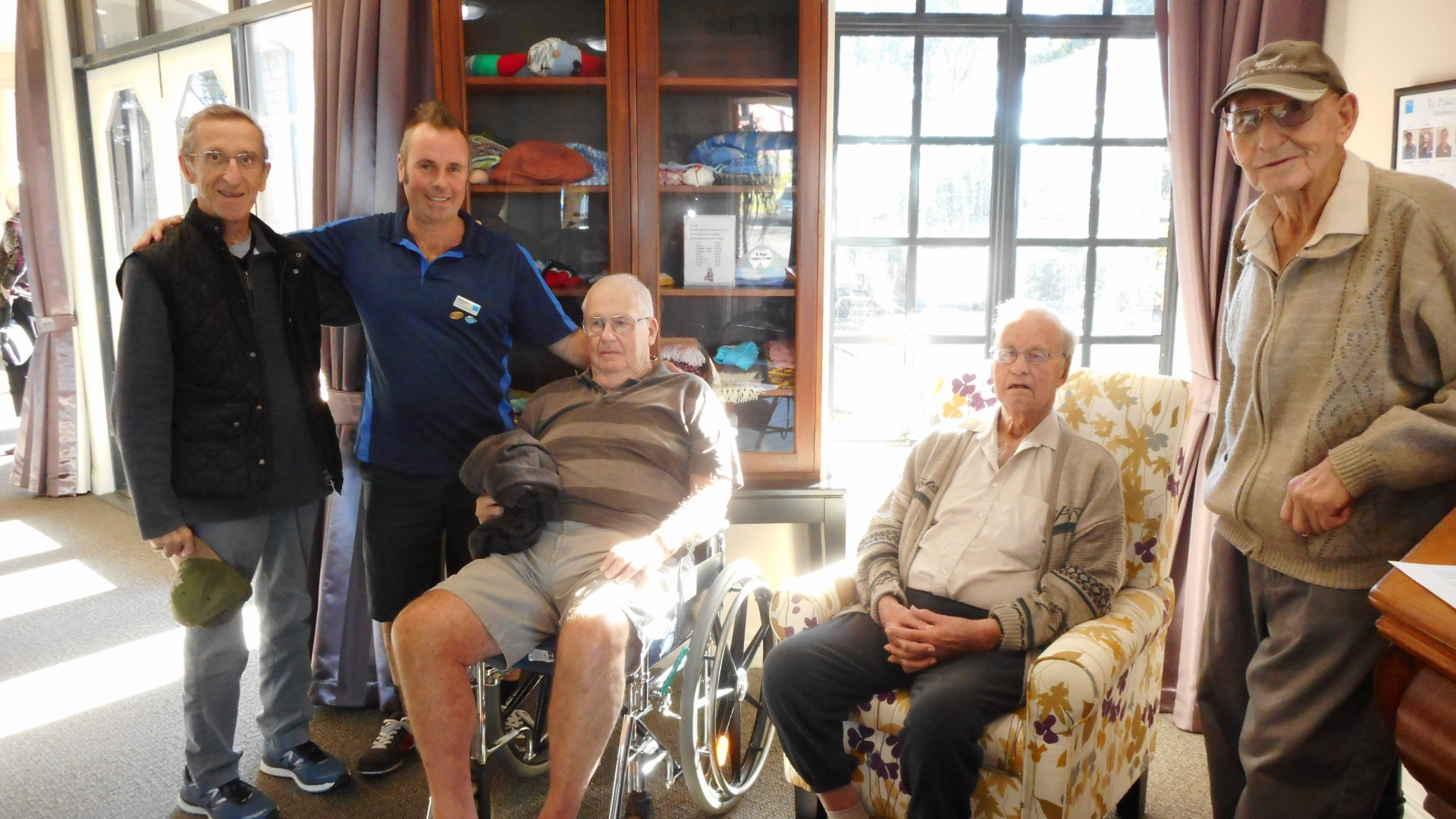 (L to R) Resident Ray Vital, Bupa Te Puke Country Lodge Care Home Activities Coordinator, Dwayne Ferguson, residents Bill King, Bruce Galbraith, Morrie Pope.