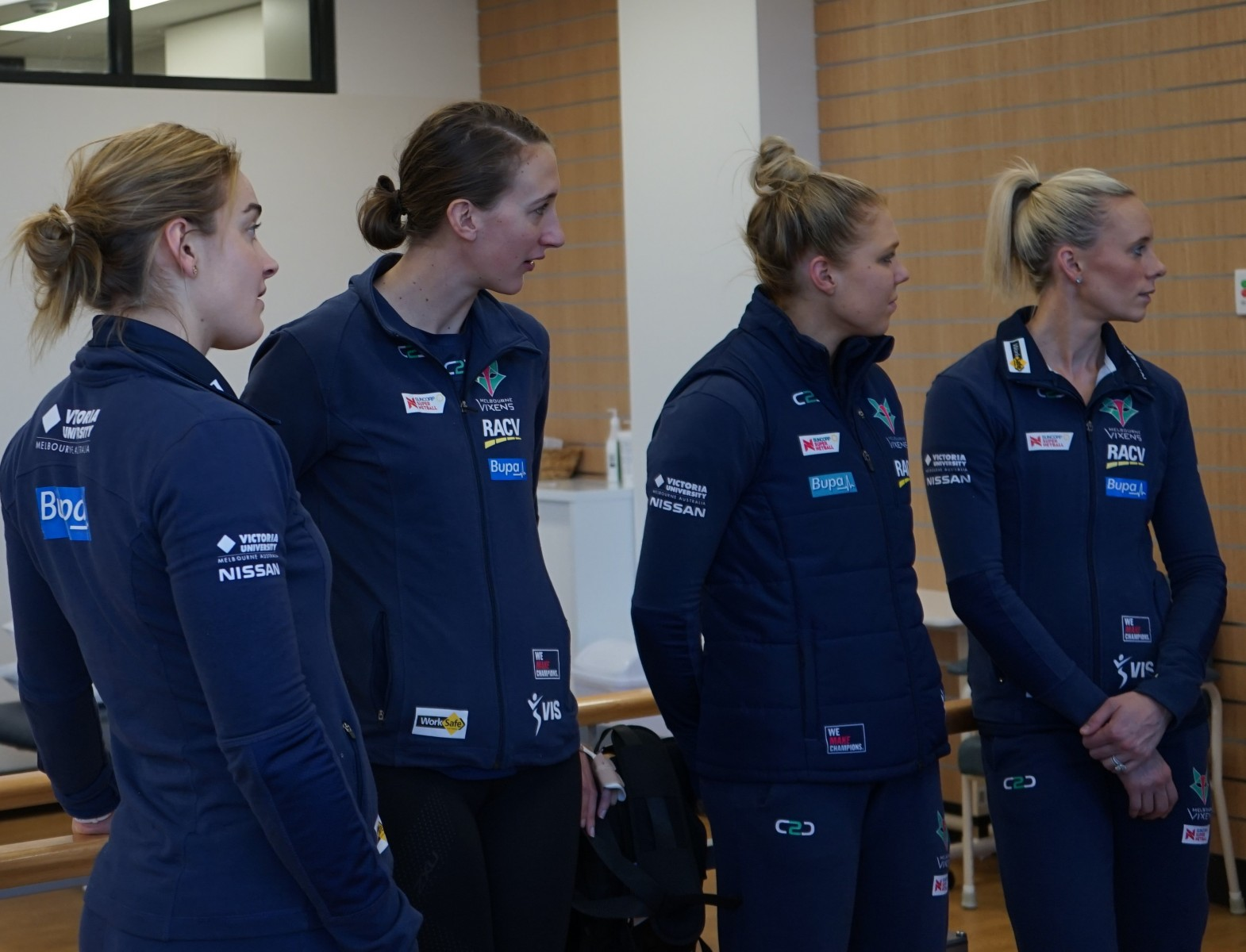 Melbourne Vixens Visit Bupa Therapy. Liz Watson, Emily Mannix,  Kate Maloney and Renae Ingles