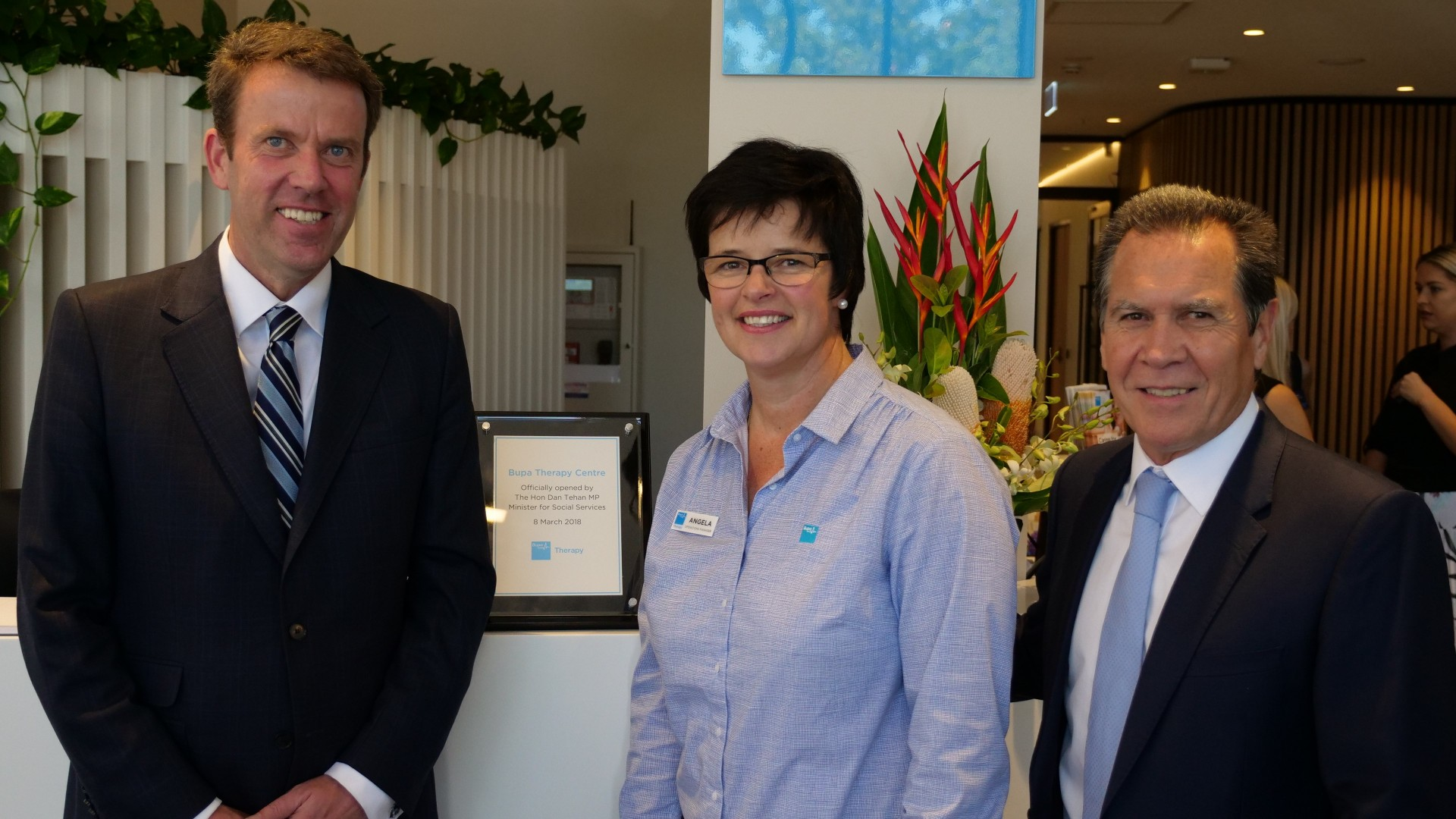 Minister Dan Tehan, Bupa Therapy's Angela Aldous and Richard Bowden, Bupa ANZ CEO