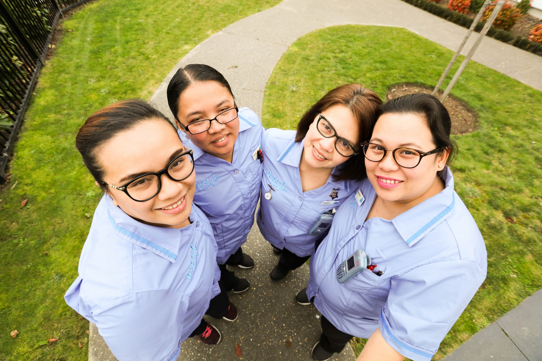 Photo - Left to right - Charisse Conmigo Bupa registered nurse, Daryl Garpia Bupa registered nurse,  Danessa Cuyno - Bupa unit coordinator, Cheryl Ricafort - Bupa unit coordinator. All of these Bupa people have completed the PDRP