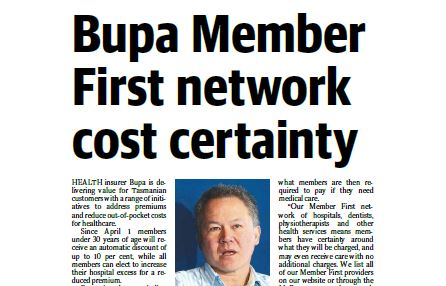 Tasmanian Country Bupa Members First Network
