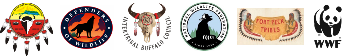 Logos (left to right): Fort Belknap Tribes, Defenders of Wildlife,  Intertribal Buffalo  Council, National Wildlife Federation, Fort Peck Tribes, World Wildlife Fund