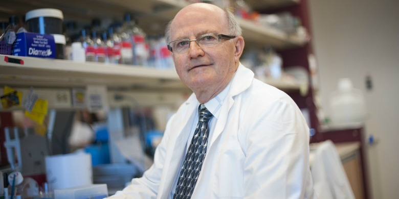 Lorne Babiuk, vice-president (research) at UAlberta, leads the team that will test a vaccine to protect livestock in Africa against five diseases.