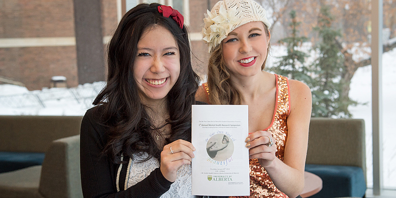 Jessica Luc (left) and Vanessa Peynenburg are co-presidents of the Be Your Own Kind of Beautiful Student Association. The organization is holding its first symposium showcasing mental health research at UAlberta. (Photo: Richard Siemens)