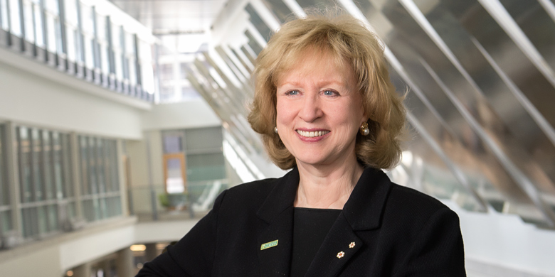 Kim Campbell, Canada's 19th prime minister and the founding principal of the Peter Lougheed Leadership College, is giving a free public lecture Oct. 9 on the question of whether leadership can be taught. (Photo: Richard Siemens)