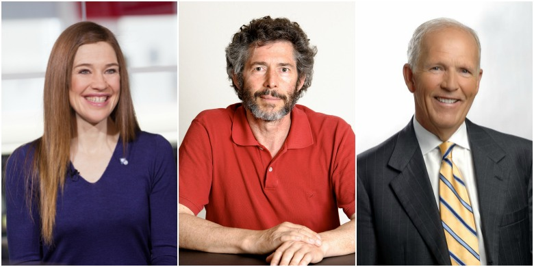 (From left) Clara Hughes, David Cheriton and Dennis Erker will receive honorary degrees during UAlberta's fall convocation Nov. 18 and 19.