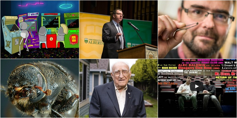 Highlights from the top stories of 2014 (clockwise from top left): the Understanding Video Games MOOC, president-elect David H. Turpin, Graham Pearson with the $20 diamond containing ringwoodite, the 'Plagiarism Rap,' the late Bill Kent, and the mountain pine beetle