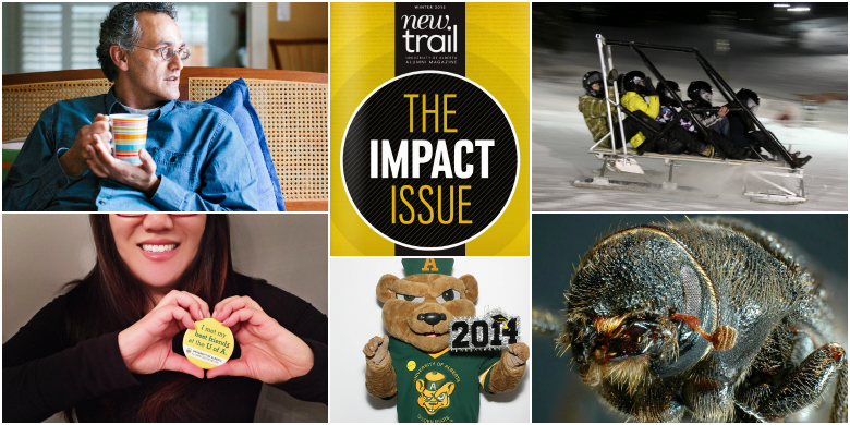 (Clockwise from top left) Cover image from the first issue of Cornerstone; New Trail's Impact Issue; the Great North Concrete Toboggan Race champions; the mountain pine beetle; GUBA celebrating spring convocation; showing the love with #UAlbertaValentine