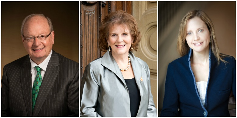 (From left) Hugh Bolton, Lois Mitchell and Samantha Nutt will receive honorary degrees from the University of Alberta during fall convocation ceremonies November 17–18.