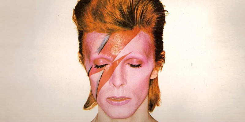David Bowie in one of his many guises on the cover of his 1973 album Aladdin Sane.