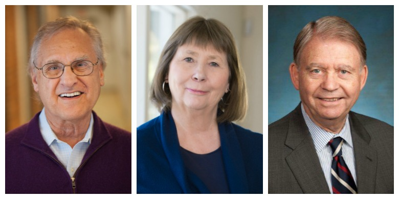 (From left) Stephen Lewis, Elizabeth O'Neill and Ralph Young will receive honorary degrees from UAlberta during fall convocation ceremonies Nov. 15-16. (Photos - Lewis: Alexis MacDonald; O'Neill: Richard Siemens; Young: supplied)