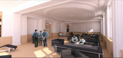 Conceptual rendering of renovated interior space in the Dentistry/Pharmacy Centre
