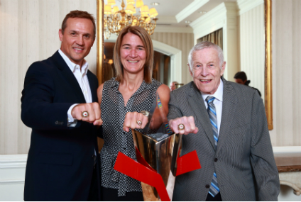 Clare Drake with Steve Yzerman and France St-Louis at their induction into the  Order of Hockey in Canada in 2014.