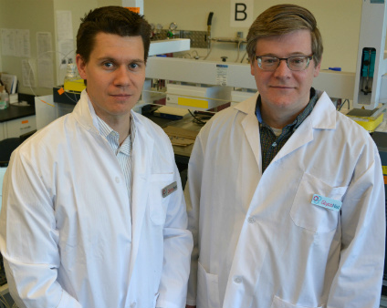 Chemists Matthew Macauley (left) and John Klassen are leading the research project using a unique approach Klassen is pioneering. (Photo: Bernie Poitras)