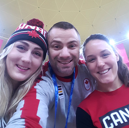 (From left) Melissa Lotholz, Quin Sekulich and Christine de Bruin at the Olympic Mountain Village cafeteria in PyeongChang, South Korea (Photo: Quin Sekulich)