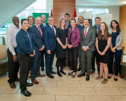 Science and Sport Minister Kirsty Duncan, Edmonton Centre MP Randy Boissonnault, U of A president David Turpin and U of A vice-president of research Matthias Ruth were on hand to congratulate recipients of the Vanier Scholarships and Banting Fellowships. (Photo: Richard Siemens)