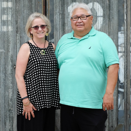 Mary Ingraham (left), director of the U of A's Sound Studies Institute, with Bert Crowfoot, founder and CEO of the Aboriginal Multi-Media Society (Photo: Supplied)