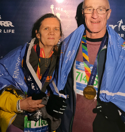 "Laurel and Fred Sproule finished the New York Marathon together in 2014. ""It's hard at first to accept things the way they are,"" Laurel says, ""but when you do, you can move on."" (Photo: Supplied)"