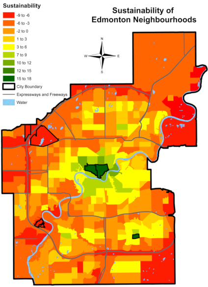 The U of A student researchers' data-based map shows Edmonton's most sustainable neighbourhoods are clustered near the city's core—with the notable exception in Millwoods to the southeast. (Image: Jack Cherniawsky and Matthew Goebel)