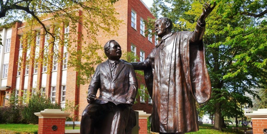 'The Visionaries,' a monument honouring the University of Alberta's founders, is the centrepiece of the Presidents' Circle on the north campus.