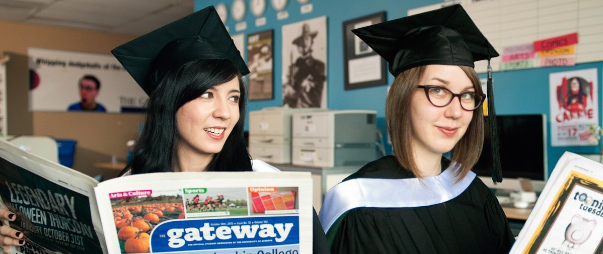 English majors and budding journalists Michelle Mark (left) and Madeline Smith both got a head start on their careers by volunteering for The Gateway. (Photo: Richard Siemens)