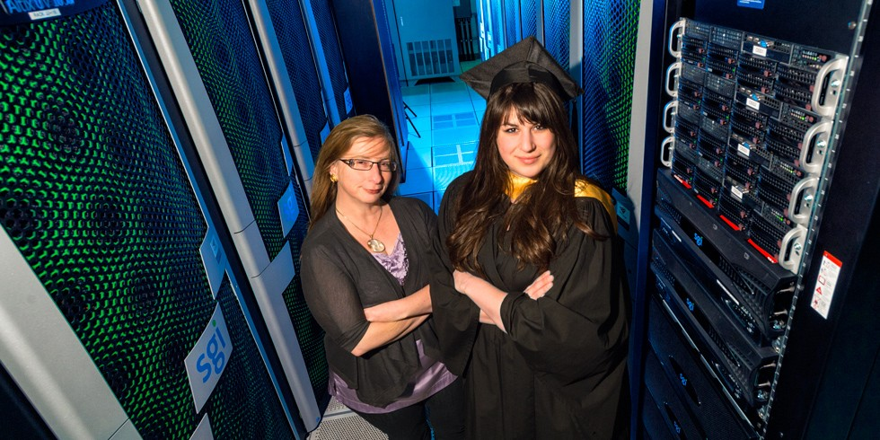 Computing science grad Sarah Beck with her professor and mentor, Eleni Stroulia (Photo: Richard Siemens)