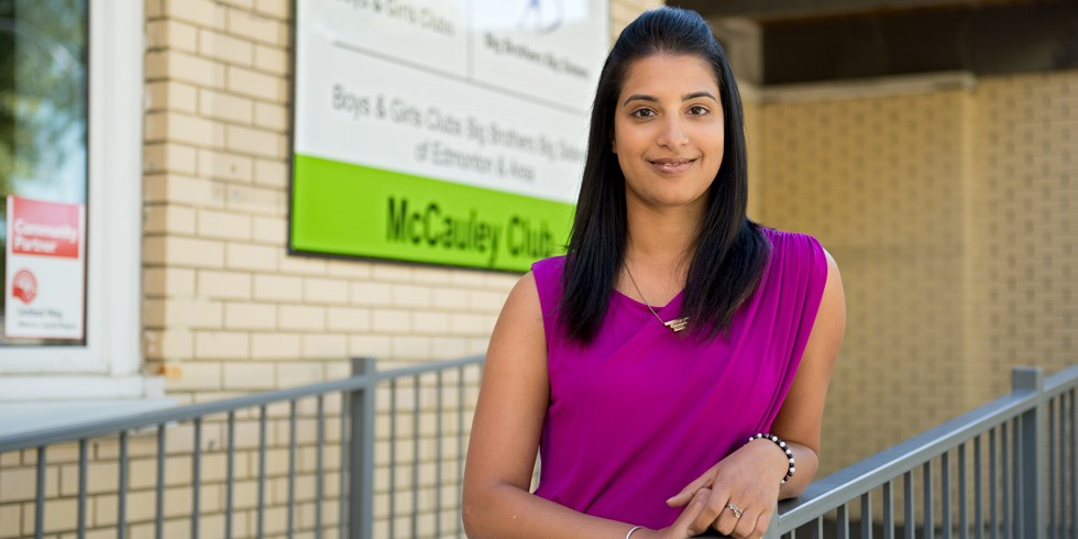 Danisha Bhaloo is a UAlberta alumna, a recent appointee to the university's senate and a grateful donor to the United Way. She hopes the campus community will think about the positive impact their generosity will make on young lives. (Photo: Richard Siemens)