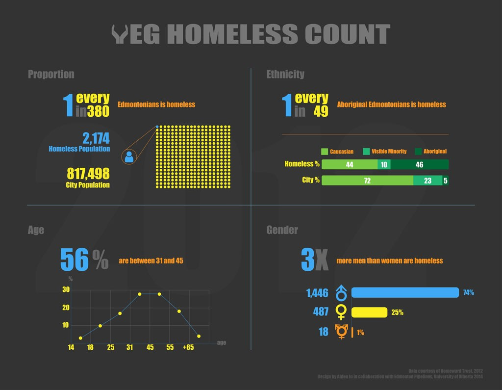 This infographic shows homelessness statistics based on the 2012 count by Homeward Trust.