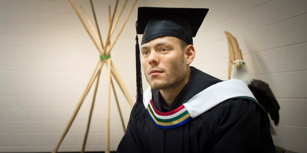Isaac Tyler is already putting his degree to good use, helping establish an after-school program and native studies course for Edmonton Catholic Schools' Aboriginal learning program. (Photo: Richard Siemens)