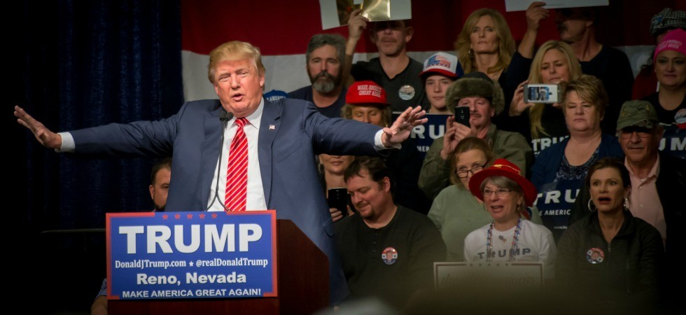 Donald Trump speaks at a campaign rally in Reno, Nevada. Trump's loss to Ted Cruz in the Iowa caucuses put a dent in his unassailable image. (Photo: Darron Birgenheier, shared under Creative Commons licence)