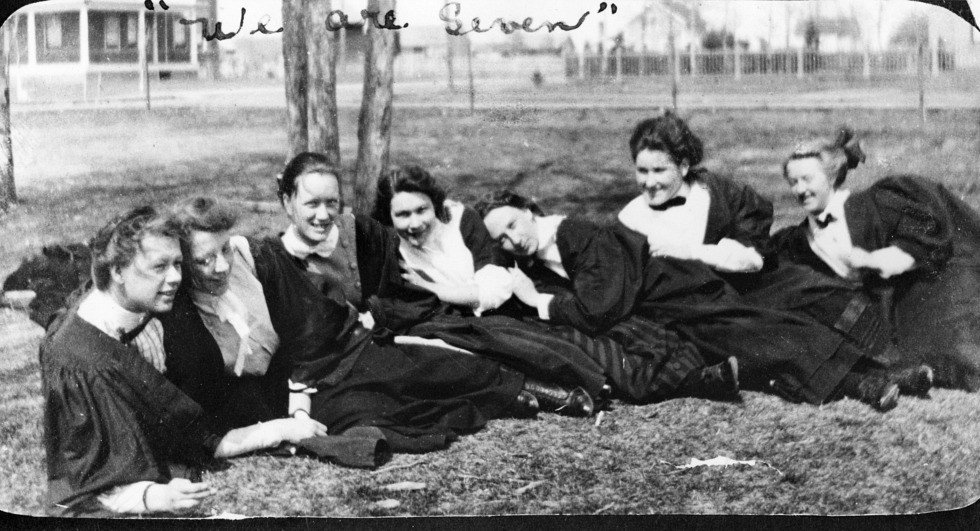 The first seven female undergrads (from left): Erna Roedler, Decima Robinson, Ethel Anderson, Agnes Kathleen Wilson, Ada J. Johnston, Winnifred Dorothy Hyssop, Mary Elizabeth Lloyd. (Photo courtesy U of A Archives, UAA 70-69-10)