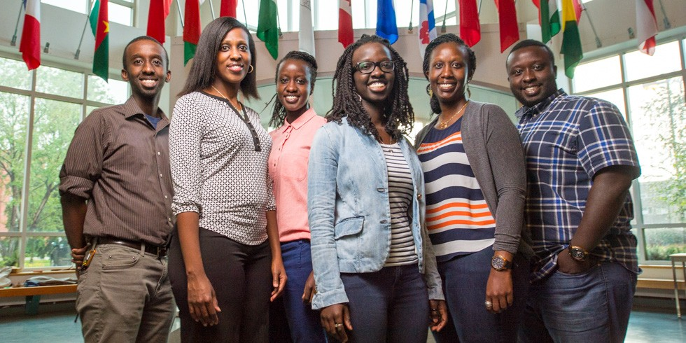 Dany Bazira (third from right) is the last and youngest of six siblings to graduate from Campus Saint-Jean. Originally from Burundi, the family has made CSJ a second home by volunteering and helping other international students settle into campus life. (Photo: Richard Siemens)