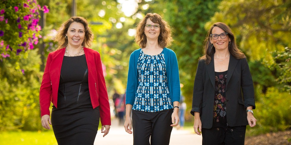 (From left) Sherri Kessels, Amy Roy Gratton, Angie Mandeville and Goetz Dapp (not pictured) were recognized for their outstanding efforts to support students at UAlberta. (Photo: Richard Siemens)